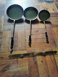 3french brass wall hanging pans