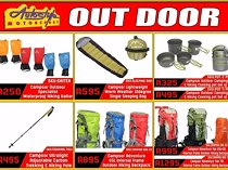 Outdoor camping hiking gaitors, sleeping bags, cooking pots, hiking trail trekking poles, backpacks