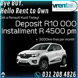 Get a renault kwid on rent to own in kzn